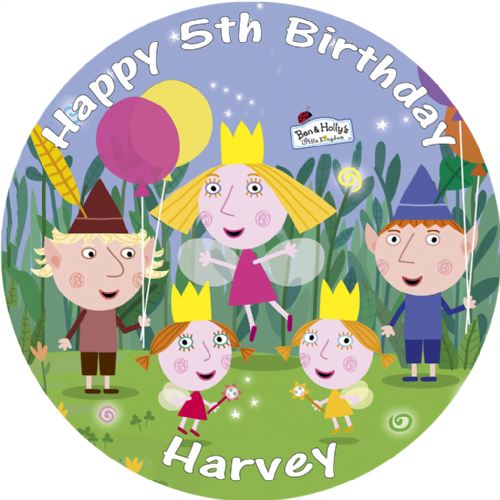 BEN AND HOLLY BIRTHDAY CAKE EDIBLE ROUND PRINTED CAKE TOPPER DECORATION